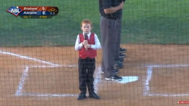 Kid With Hiccups Sings Anthem