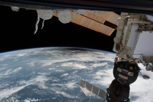 From Space Station: Black area is moon shadow over U.S.
