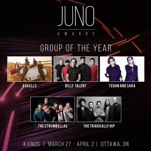 Strumbellas, Arkells, Tragically Hip, and More Snag Juno Noms