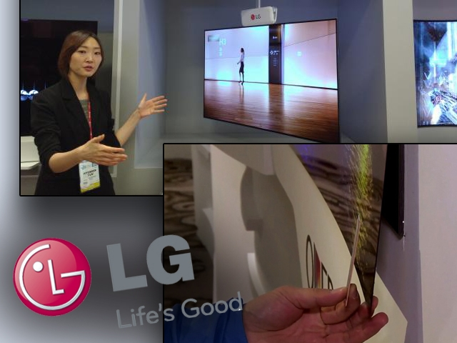 LG...just TAKE MY MONEY!!! Wallpaper thin and Double Sided TV'S!!! WOW