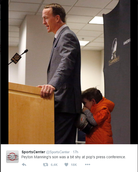 WATCH: Peyton Manning's young son steals the show