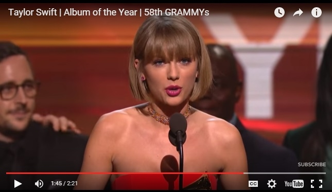 GRAMMYS 2016: Taylor Swift Calls Out Kanye West During Acceptance Speech