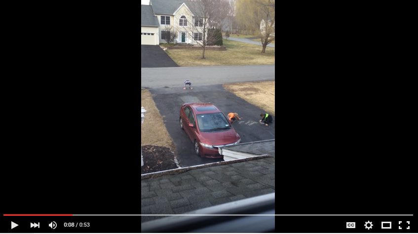 Kids Get Caught Trying To Leave Adorable Easter Message On Neighbours Driveway - WATCH