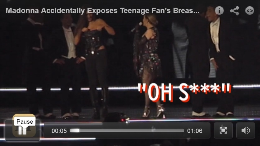 17 Year Old Fan Reacts To Madonna Pulling Her Shirt Down On Stage