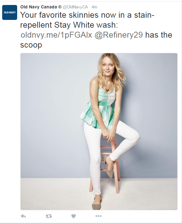 Old Navy introduces stain resistant WHITE jeans - what now???!!