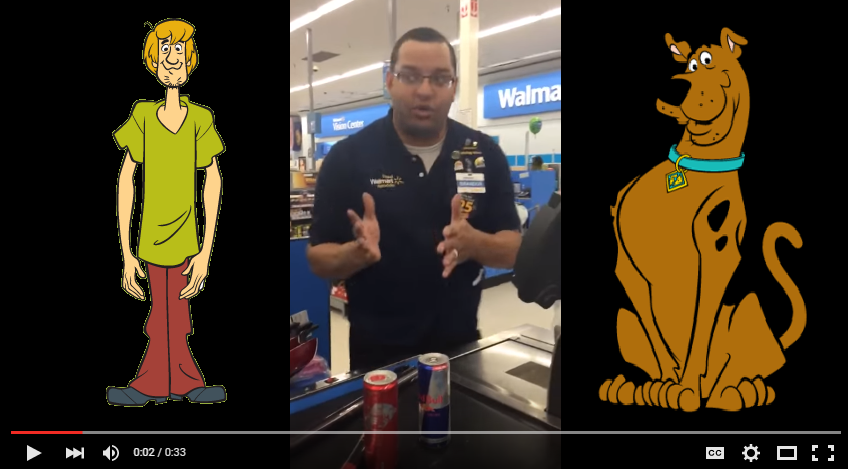 Wal-Mart Employee Does SPOT ON Impression Of Scooby Doo and Shaggy While Cashing Out Customers - WATCH