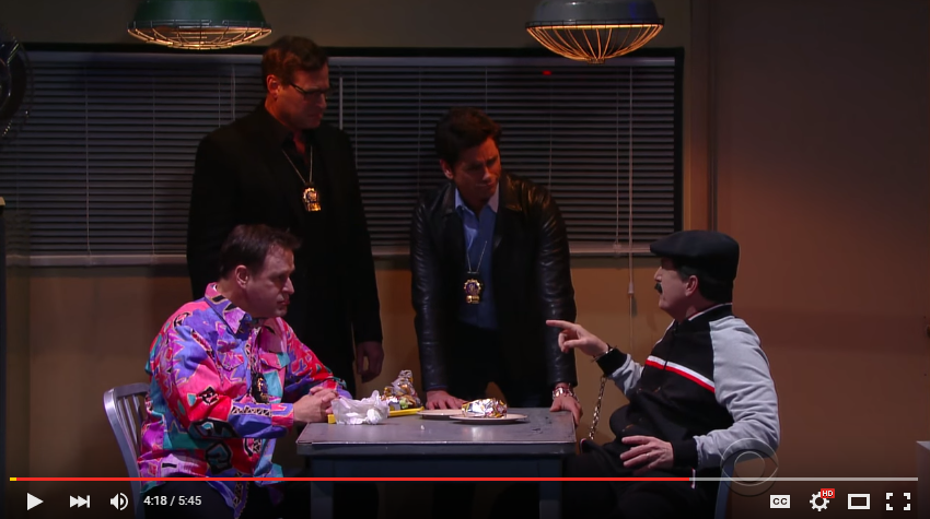 """Stephen Colbert Teams Up With Uncle Jesse, Uncle Joey, and Danny Tanner in """"Full House Nights"""" - WATCH"""