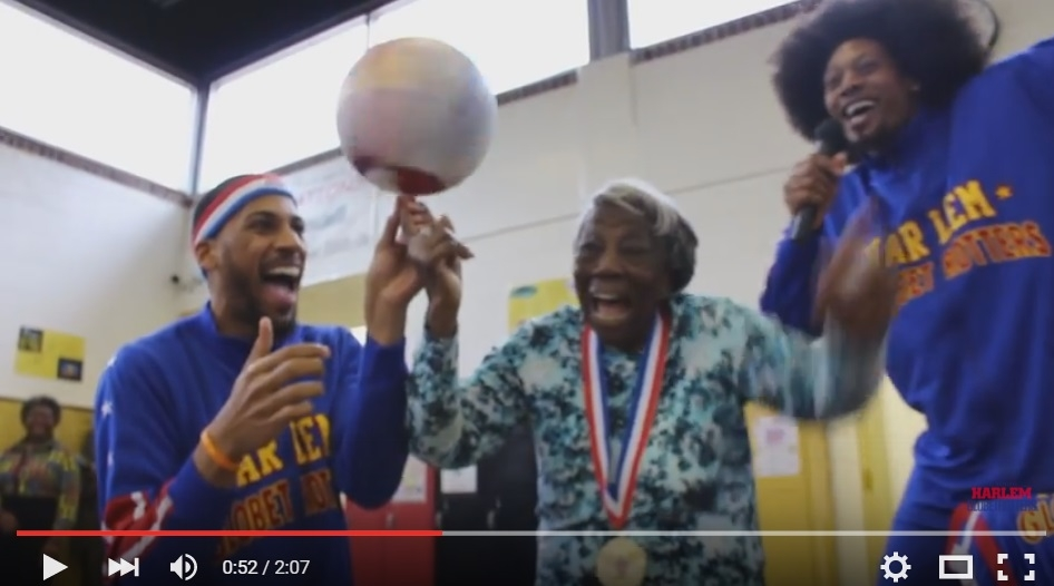 Adorable 107 Year Old Women Hangs Out With The Harlem Globetrotters - WATCH