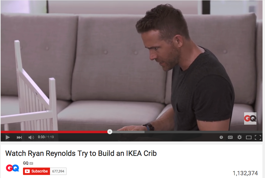 Ryan Reynolds Channels, Well, Everyone In A GQ Video Putting Together An IKEA Baby Crib - WATCH