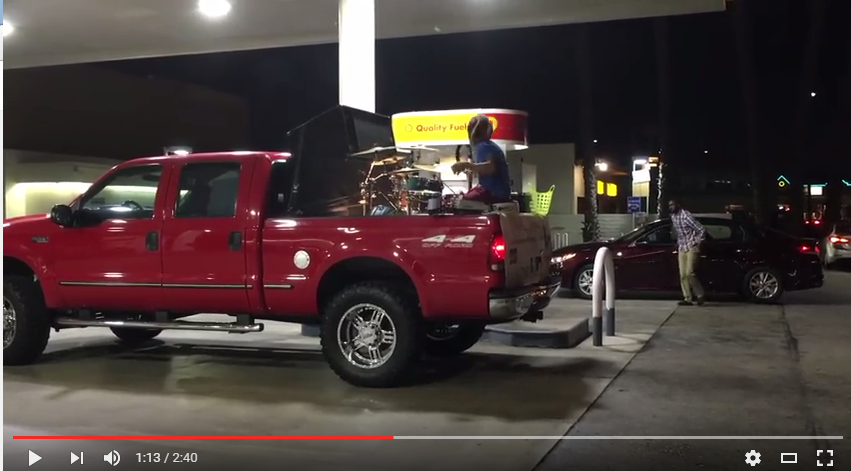 Guy Tributes PRINCE By Performing 'Purple Rain' Drum Solo In The Back Of His Pick Up Truck - WATCH