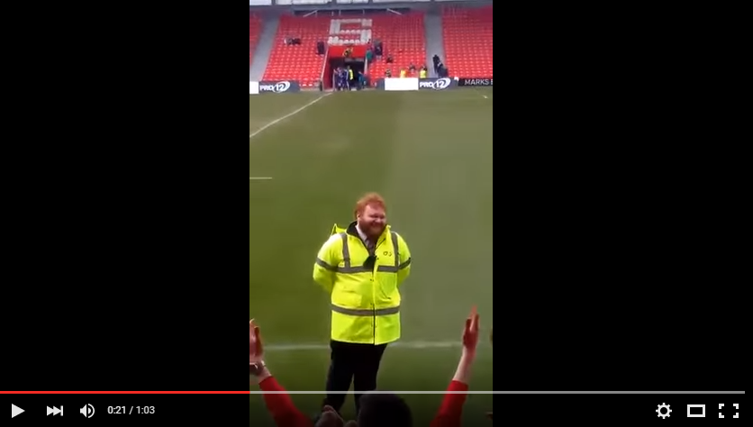 Crowd At Rugby Game Sing Ed Sheeran To Referee Look-a-Like - WATCH