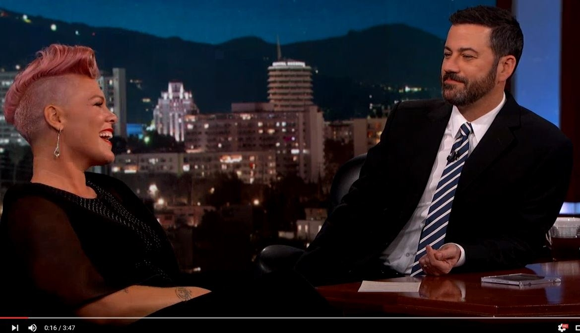 P!nk reveals she crushes hard when it comes to Johnny Depp & Michael Keaton when she spoke to Jimmy Kimmel last night.