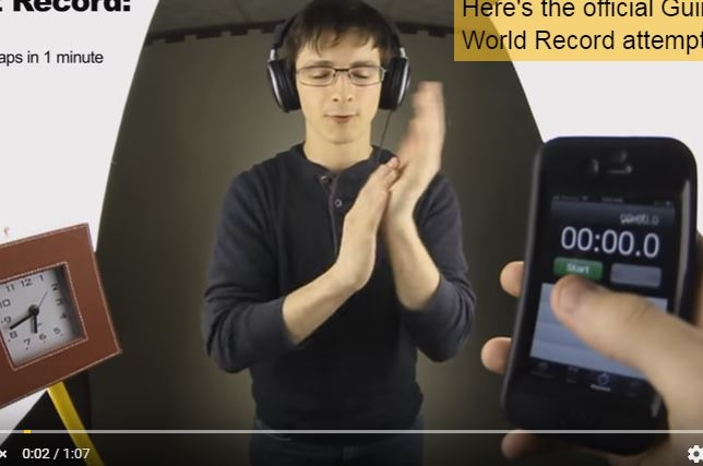 The world's fastest clapper claps 802 times in a single minute. WATCH: