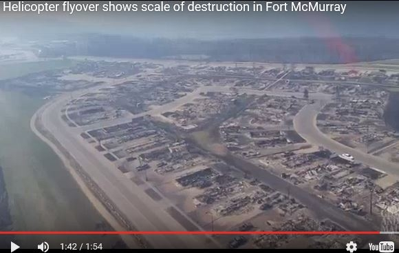 Helicopter flyover shows the extent of the damage done in Fort Mcmurray.