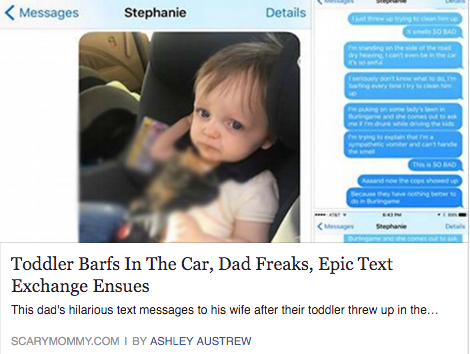 Toddler throws-up in car, dad freaks out then goes on an epic text rant