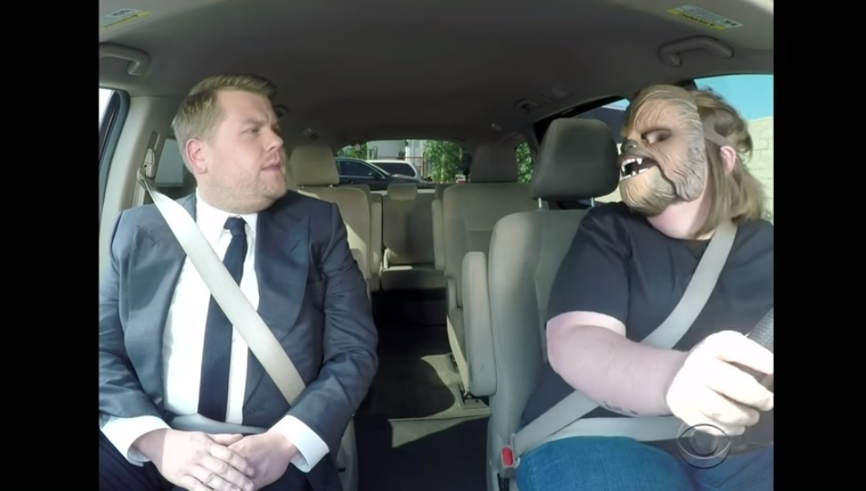 WATCH: VIRAL CHEWBACCA MOM TAKES JAMES CORDEN TO WORK!