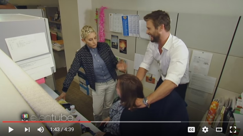 ICYMI: People Who Work For Ellen Have The Best Job Ever... Especially When Chris Hemsworth Shows Up - WATCH