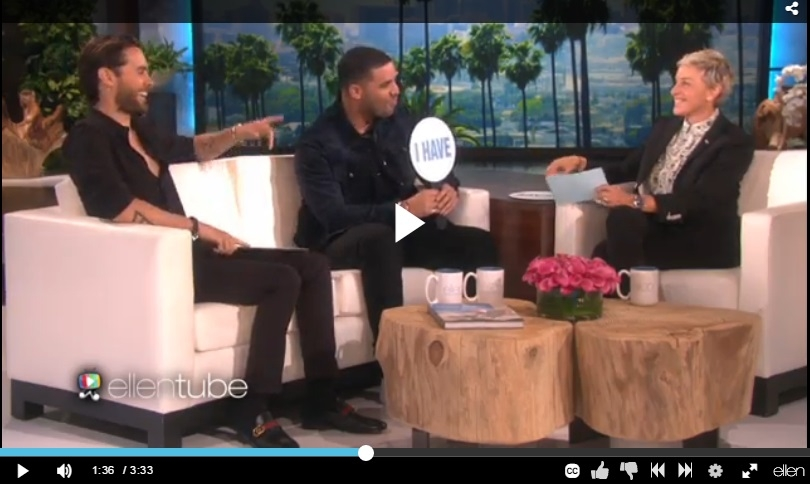 Drake, Jared Leto, and Ellen Play 'Never Have I Ever' Find Out Who Hooked Up With A Fan! - WATCH