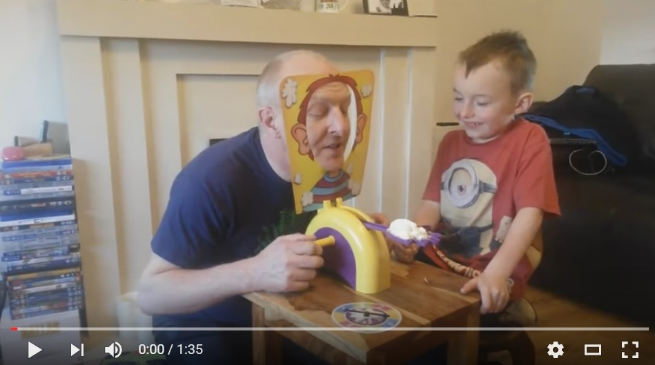 Grandpa and Grandson Have Hilarious Time Playing Pie In The Face Game - WATCH