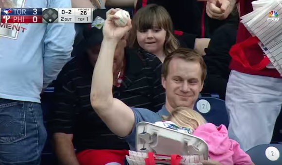 DAD grabs FOUL BALL with ONE HAND! While holding daughter and tray of Hotdogs! (Watch)