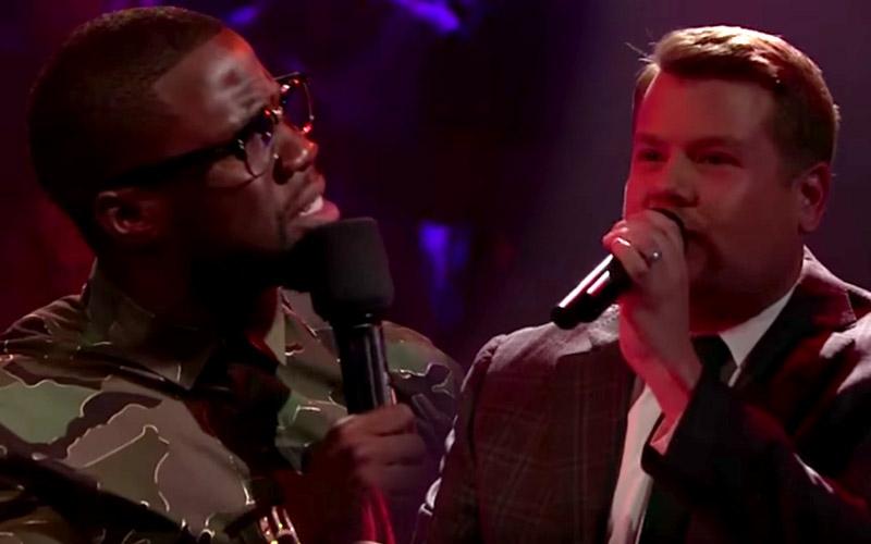 "JAMES CORDEN vs. KEVIN HART in an EPIC Rap Battle...""DROP the MIC"" (Watch)"