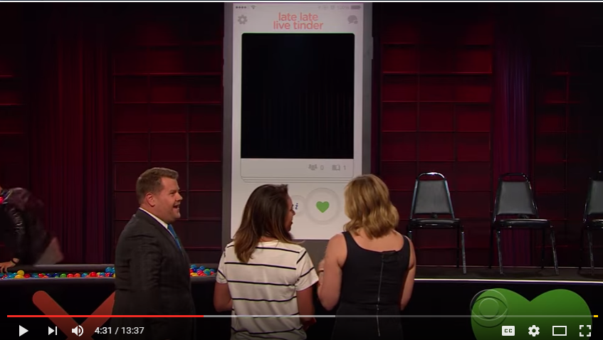 ICYMI: James Corden Plays Live Tinder With A Surprised Staff Member And Chelsea Handler - WATCH