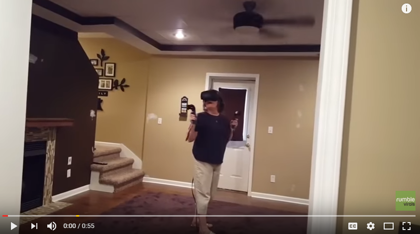 Mom Has Hilarious Scare While Wearing Virtual Reality Helmet - WATCH