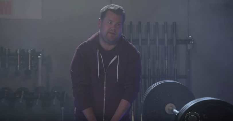 "Another funny James Corden video! This time he tries to workout inside Kanye West's ""Fade"" video."