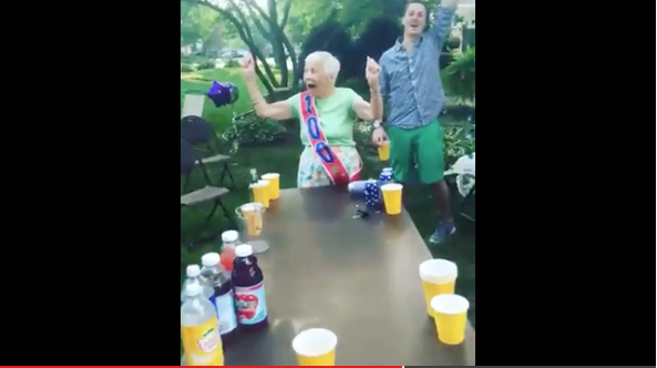 Grandma Sinks Beer Pong Shot During Her 100th Birthday Celebration -WATCH