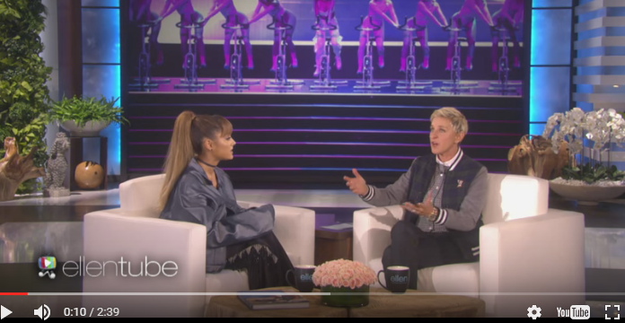 Ariana Grande awkwardly admits that she's with Mac Miller, talks bicycles & VMAs too with Ellen!