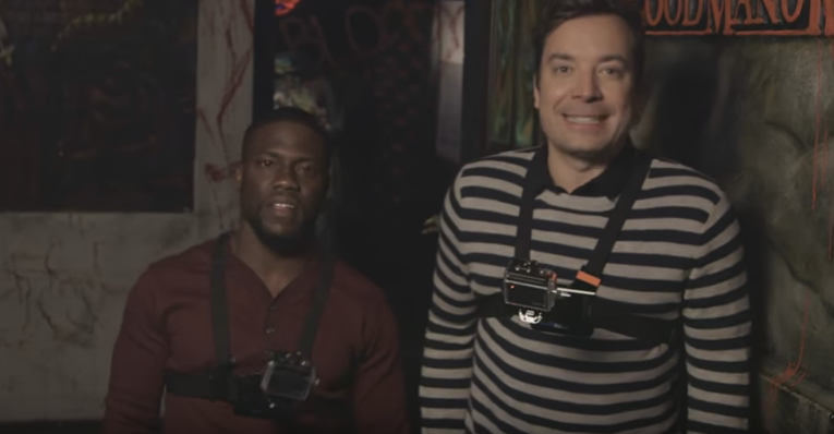 "Jimmy Fallon & Kevin Hart freak out & fart while exploring NYC's ""spookiest"" Haunted House!"