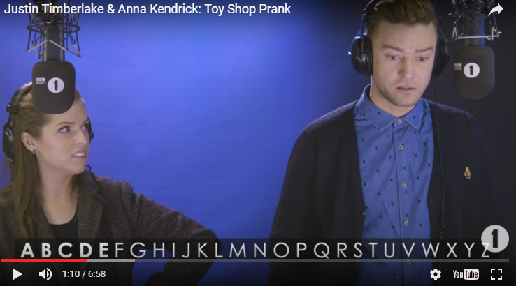 Justin Timberlake & Anna Kendrick pull a prank on toy shops.