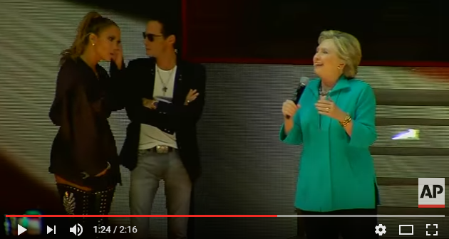 Jennifer Lopez endorses Hillary Clinton on stage over the weekend.