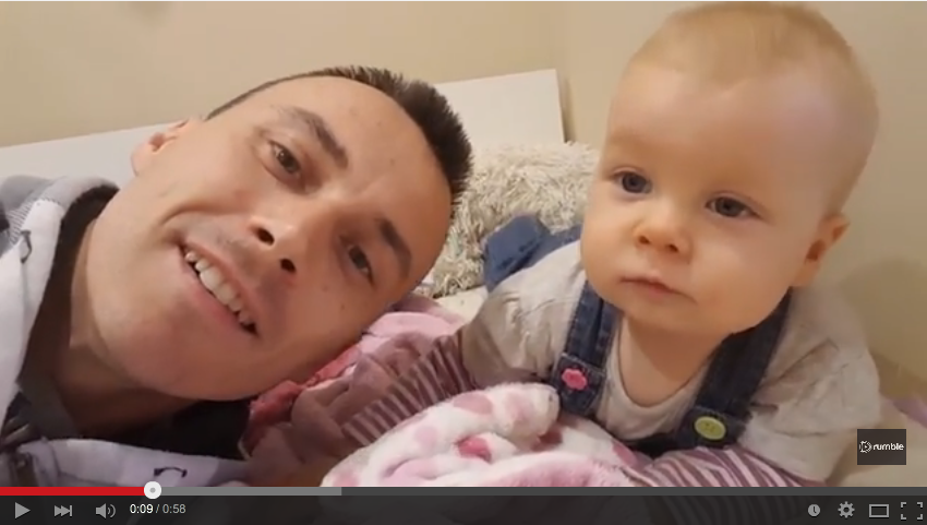 Baby Does Adorable Impression Of Dad While Mimicking Him - WATCH