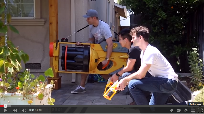 Guy Builds HUGE Nerf Gun To Take On His Nieces & Nephews - WATCH