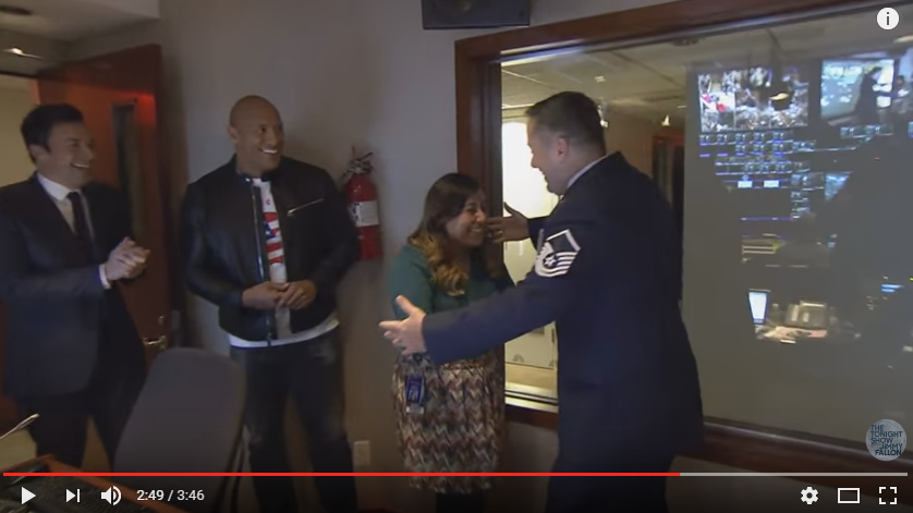 "WATCH: Jimmy Fallon & Dwayne Johnson surprise ""Tonight Show"" staffer with military homecoming."