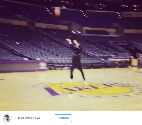 Justin Timberlake Nails A Free Throw From Half Court On NBA Court - WATCH