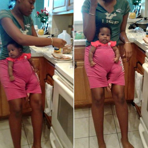 Babysitter puts baby in her pants while she makes a sandwich