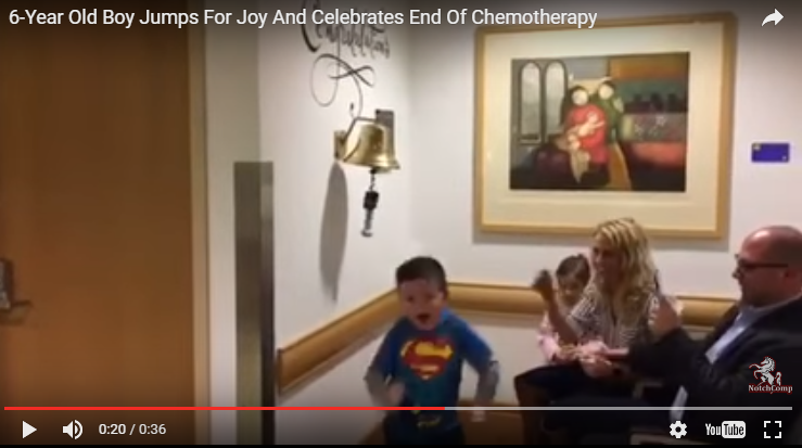 6 year old little guy jumps for joy and celebrates the end of chemotherapy!