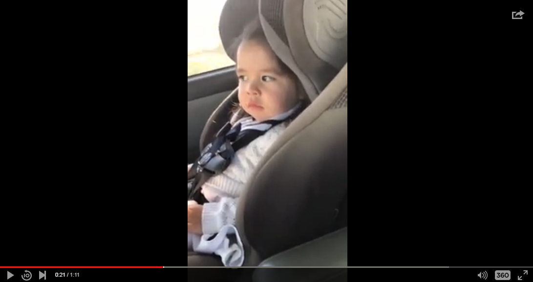 Toddler Has Great Reaction When Chorus Of Bruno Mars Track Comes On - WATCH