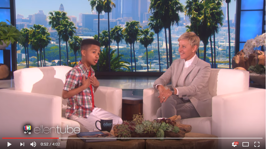 10 Year Old Demarjay Surprises Ellen With A Heartfelt Thank You Song - WATCH