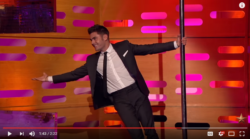 Zac Efron Shows Off His Incredible Pole Dancing Skills On The Graham Norton Show - WATCH