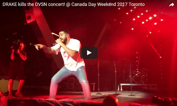 Drake surprises everyone at Nathan Phillips Square in TO during the #Canada150 long weekend. WATCH *NSFW*