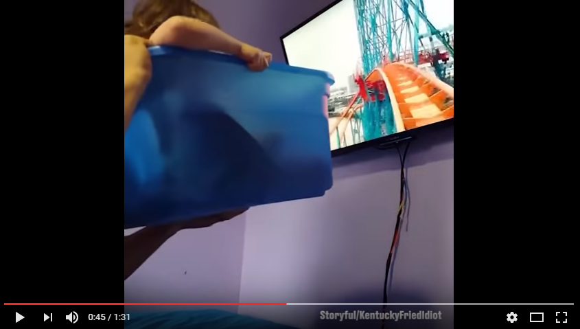 Dad Takes His Daughter On Her First Roller Coaster Ride, In A Bucket - WATCH