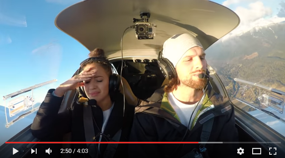 Pilot Boyfriend Pops The Question After Faking Engine Failure On Plane Ride - WATCH