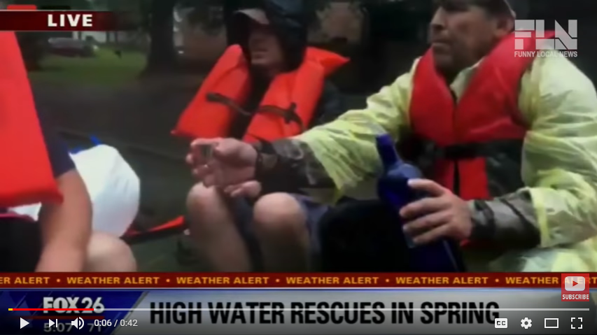 Hurricane rescuers do shots on a boat, but a reporter thinks it is water.