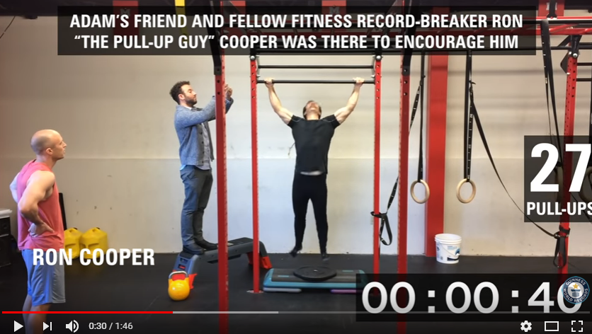 A guy sets a Guinness World Record for most pull-ups in a minute. WATCH