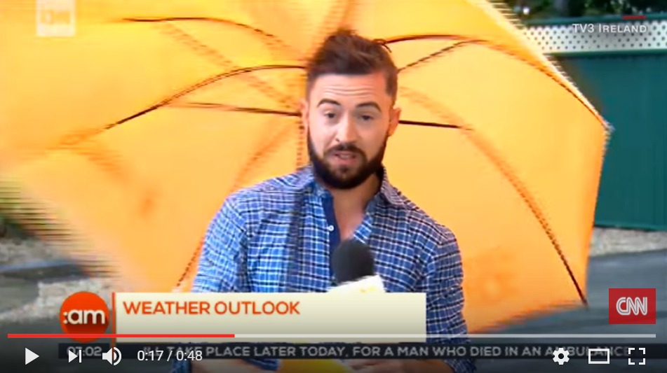 Adorable Irish Weatherman Is Hit With Hilarious Wind Gust During Live Broadcast - WATCH