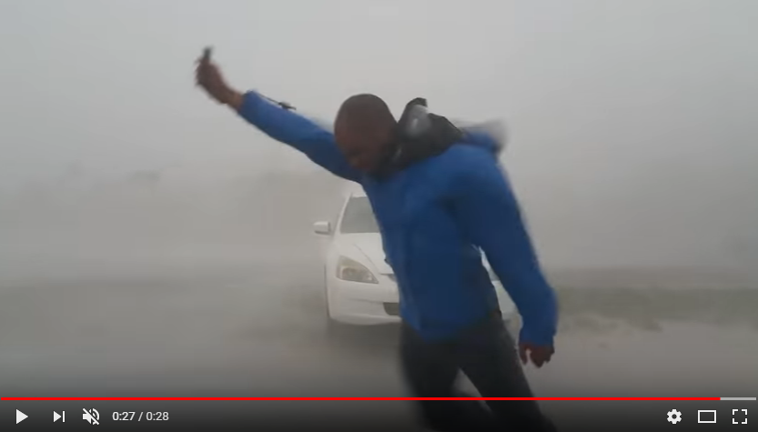 A Storm Chaser Struggles to Walk in Irma's Winds. WATCH
