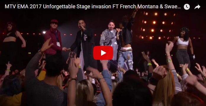French Montana's EMA's performance interrupted by a stage crasher. WATCH